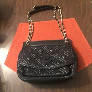 TORY BURCH Black quilted leather Handbag
